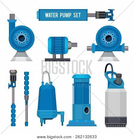 Water Pumps. Industrial Machinery Electronic Pump Steel Systems Sewage Aqua Control Station Vector I
