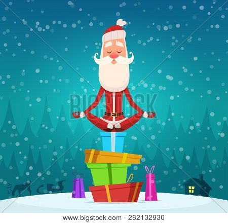 Santa Relax Meditation. Winter Christmas Holiday Character Santa Claus Doing Yoga Exercices Outdoor