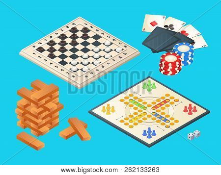 Board Games. Vector Isometric Pictures Of Various Boards Games. Table Game, Block Pyramid, Checkers