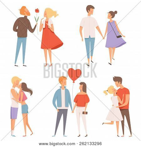 Dating Couples. St Valentine Day 14 February Happiness Hugging Romantic Lovers Characters Vector Dat