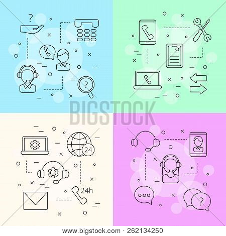 Vector Line Call Support Center Icons Infographic Concept Illustration. Support Internet Call Servic