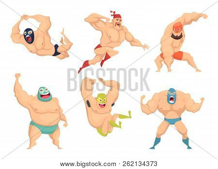 Lucha Libre Characters. Mexican Wrestler Fighters In Mask Macho Libros Vector Martial Cartoon Mascot