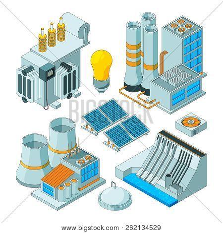 Electrical Equipment. Watt Electricity Lighting Generators Vector Isometric Pictures Isolated. Energ