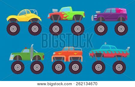 Monster Truck Cars. Automobiles With Big Wheels Creature Auto Toy For Kids Vector Pictures Isolated.