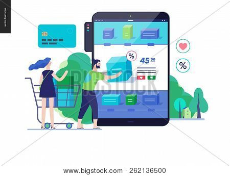 Business Series, Color 3 - Buy Online Shop - Modern Flat Vector Illustration Concept Of Man And Woma
