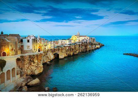 Vieste Town On The Rocks, Gargano Peninsula, Apulia, Southern Italy, Europe.