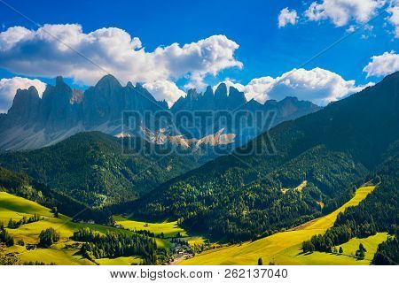 Funes Valley Aerial View And Odle Mountains, Dolomites Alps. Trentino Alto Adige Sud Tyrol, Italy, E