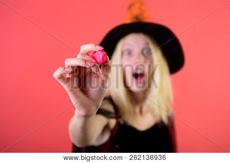 Halloween Witch With Pink Marker In Hand. Writing With Pen. Halloween Illustration With Marker. Sele