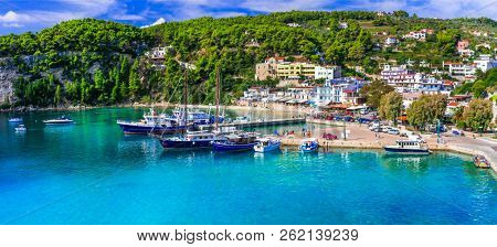 Picturesque Alonissos island - relaxing tranquil hollidays in Greece. Patitiri bay. Sporades