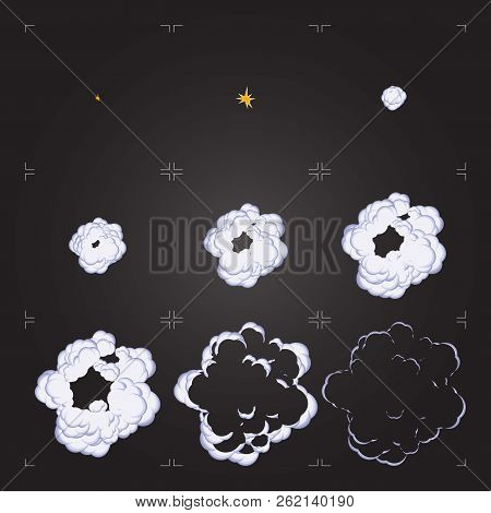 Cartoon Explosion Sprite Sheet Animation. Design Element For Game Or Animation