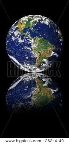 Globe (NASA - Visible Earth) reflected into Space