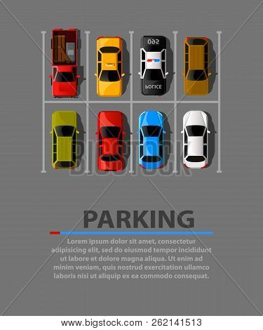 City Parking Vector Web Banner. Shortage Parking Spaces. Many Cars In A Crowded Parking. Parking Zon