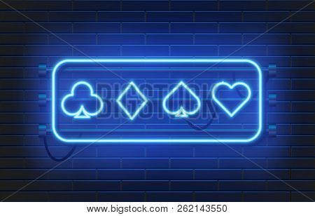 Neon Lamp Casino Banner On Wall Background. Poker Or Blackjack Card Games Sign. Las Vegas Concept. V