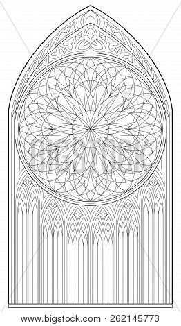 Black And White Page For Coloring Book. Drawing Of Medieval Gothic Window With Stained Glass And Ros