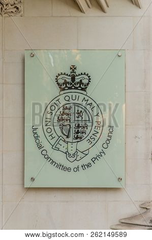 London. September 2018. A View Of A Sign For The Judicial Commmittee For The Privy Council In London