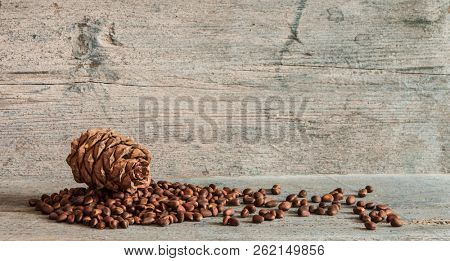Pine nuts and pine cones on wooden background