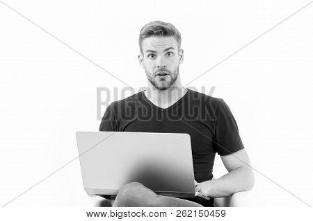 In Search Of Inspiration. Man With Laptop Surprised Inspired Face Found Idea. Guy Handsome Unshaven