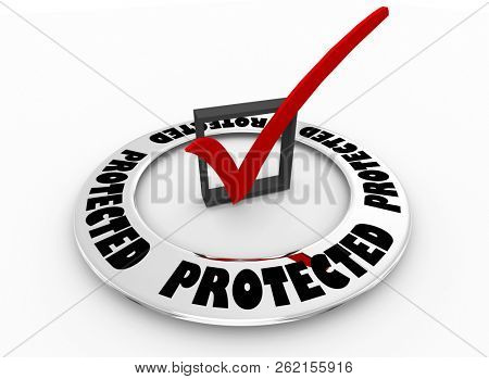 Protected Security Safe Protection Check Mark Box Word 3d Illustration