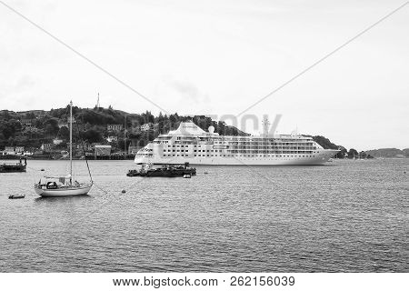 Oban, United Kingdom - February 20, 2010: Luxury Cruise Ship Silver Cloudd By Silversea Cruises Alon