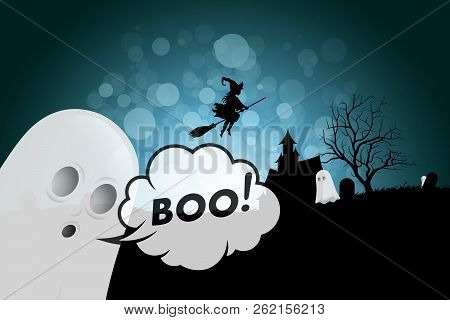 Halloween Background With Ghosts, Haunted House, Tree, Cemetery And Witch