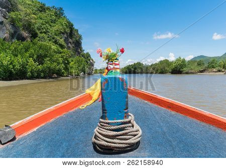 Khao Dang Canal Boat Trip At Prachuap Khiri Khan Thailand. Boat Or Fishing Boat And Rock Or Stone Mo
