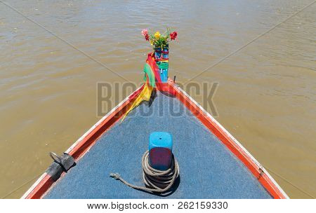 Khao Dang Canal Boat Trip At Prachuap Khiri Khan Thailand. Boat Or Fishing Boat And Water. Landscape