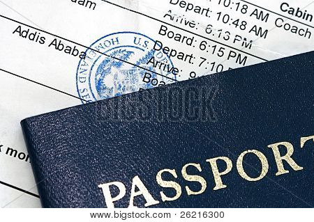 Airline boarding pass with public seal of Homeland Security