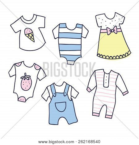 Background, Texture, Wallpaper With Children Cartoon Doodle Clothing. Baby Shower Illustration Of Ba