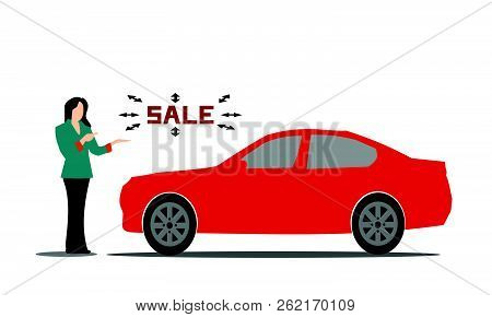 Female Salesperson Red Car Advice On   White Background