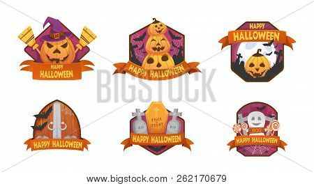 Set Of Cartoon Style Happy Halloween Emblems. Labels And Budges.with Pumpkin Heads. Old Scary  Medie