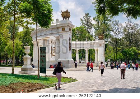 MEXICO CITY - JULY 12,2018 : The Hemiciclo a Juarez monument at the Alameda Central in Mexico City