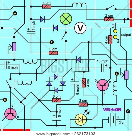 Electrical Circuit Of Radio Device (resistance, Transistor, Diode, Capacitor, Inductor). Vector Seam