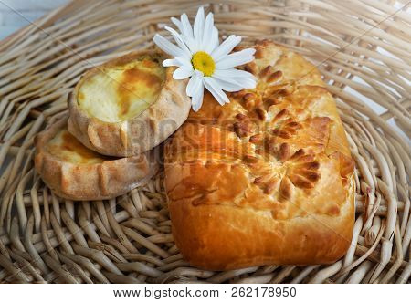 Fresh Baked Traditional  Pie With Meat On A Wood Table