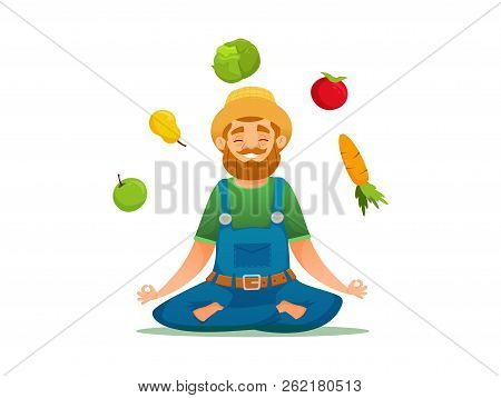 Farmer In Yoga Pose Sitting Around Fruits And Vegetables. Vector Cartoon Illustration. Isolated Vect