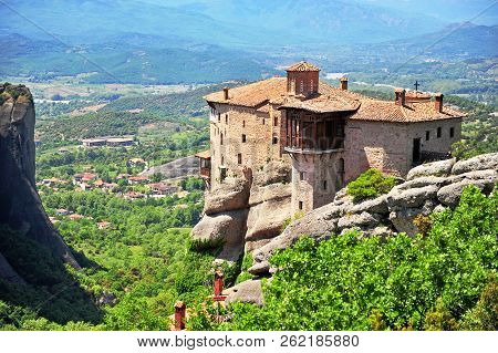 Top View Of Monastery Of Meteora Historical Complex