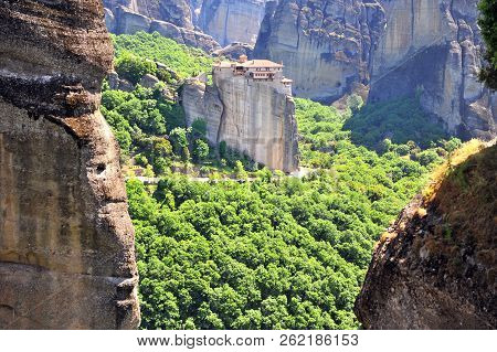Amazing View Of Meteora Monastery From Above