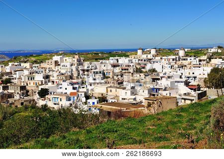 Byblos White Village With Aegean Sea On Horizon