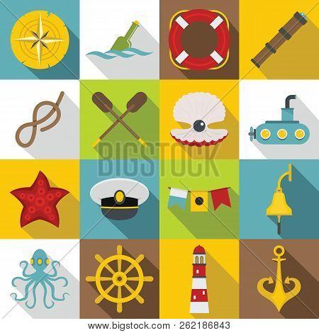 Nautical Icons Set. Flat Illustration Of 16 Nautical Icons For Web