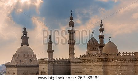 Minarets And Domes Of Sultan Hasan Mosque And Al Rifai Mosque, Old Cairo, Egypt