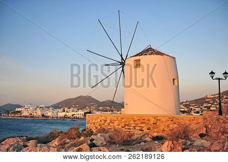 Parikia Old Town And Traditional Greek Windmill