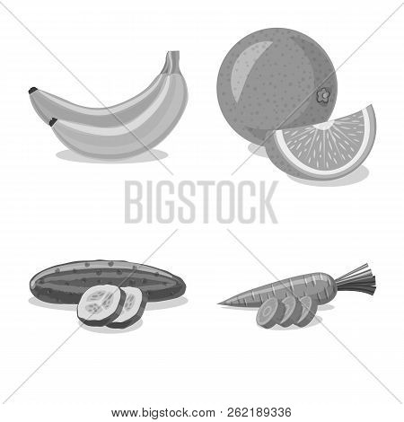 Vector Illustration Of Vegetable And Fruit Icon. Set Of Vegetable And Vegetarian Stock Vector Illust