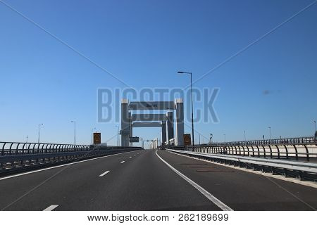 Bridge Named Botlekbrug On Motorway A15 In The Botlek Harbor In Rotterdam, The Netherlands.
