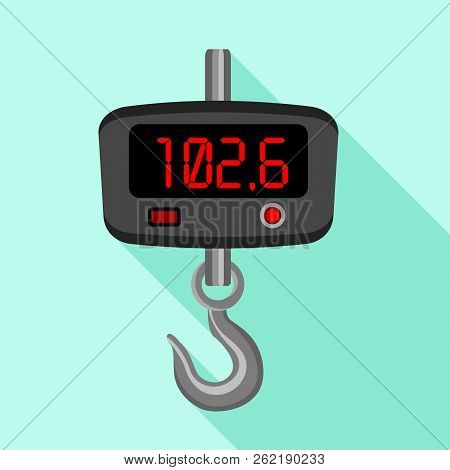 Digital Fishhook Scales Icon. Flat Illustration Of Digital Fishhook Scales Icon For Web