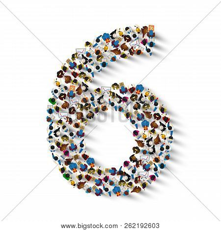 Large Group Of People In Number 6 Six Form. People Font . Vector Illustration