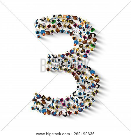 Large Group Of People In Number 3 Three Form. People Font . Vector Illustration