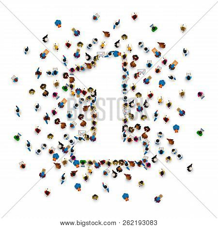 Large Group Of People In Number 1 One Form. People Font . Vector Illustration