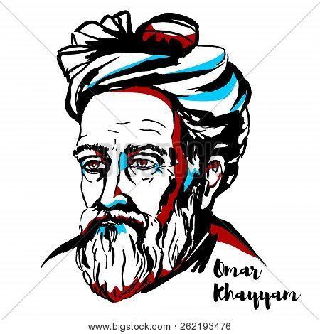 Omar Khayyam Engraved Vector Portrait With Ink Contours. Persian Mathematician, Astronomer, And Poet