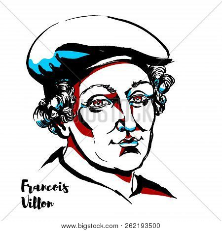 Francois Villon Engraved Vector Portrait With Ink Contours. French Poet Of The Late Middle Ages.