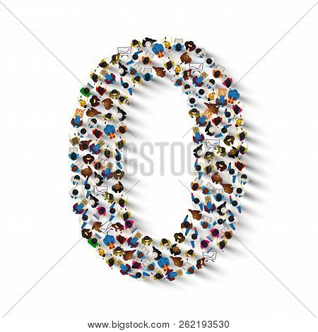 Large Group Of People In Number 0 Zero Form. People Font . Vector Illustration