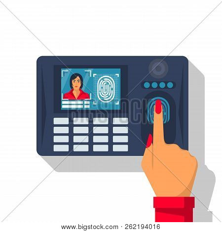 Finger Print Scan. Authorization In Security System. Woman Hand Scanning Finger. Access Control. Vec